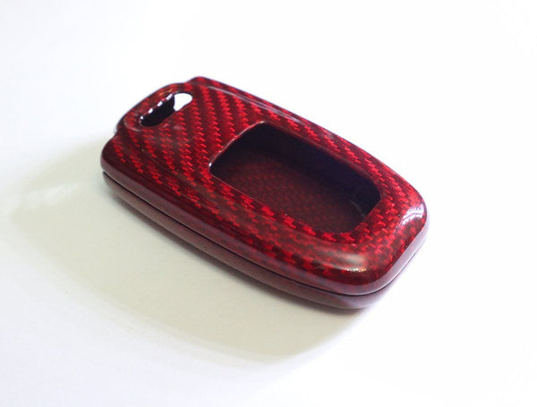 Pinalloy Deluxe Real Red Carbon Fiber Remote Key-less Key Cover Case Skin Shell for Audi