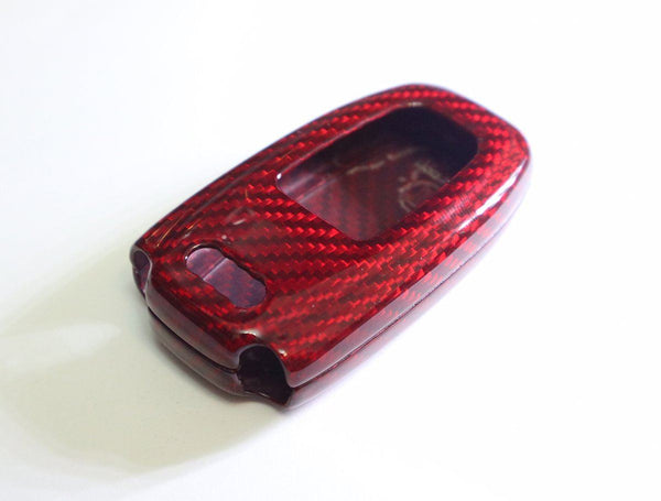 Pinalloy Deluxe Real Red Carbon Fiber Remote Key-less Key Cover Case Skin Shell for Audi - Pinalloy