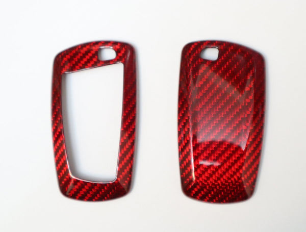 Pinalloy Red Deluxe Real Carbon Fiber Remote Key Cover Case Shell for BMW 1 3 5 7 - Pinalloy Online Auto Accessories Lightweight Car Kit