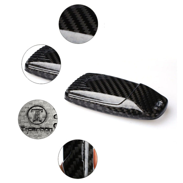 Pinalloy Real Black Carbon Fiber Case Cover for 2016-2018 Audi Keyless Smart Key - Pinalloy Online Auto Accessories Lightweight Car Kit