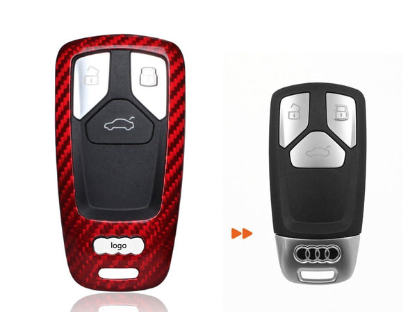 Pinalloy Real Red Carbon Fiber Case Cover for 2016-2018 Audi Keyless Smart Key - Pinalloy Online Auto Accessories Lightweight Car Kit