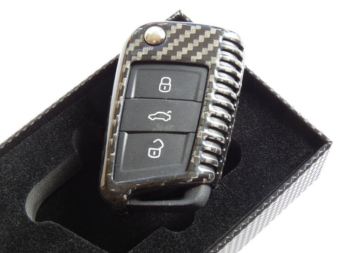 Deluxe Real Pure Carbon Fiber Key Cover Case Skin Shell Fob for VW Golf 7 MK7