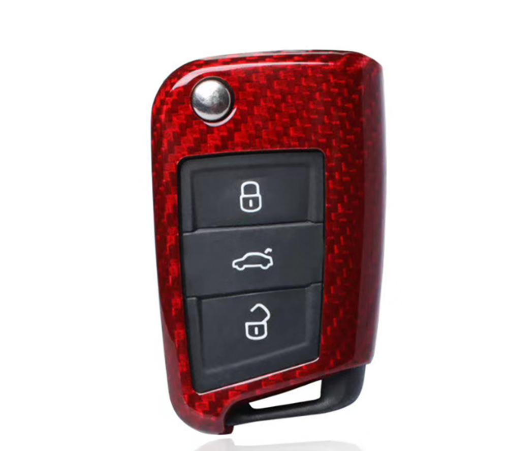 Pinalloy Deluxe Red Real Carbon Fiber Key Cover Case Shell Fob for Volkswagen VW Golf 7 MK7 - Pinalloy