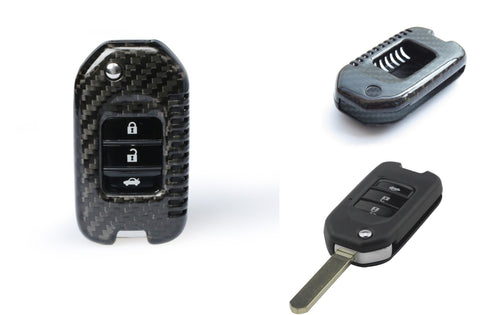 Pinalloy Carbon Fiber Remote Flip Key Cover Case fit Honda Civic HRV Accord