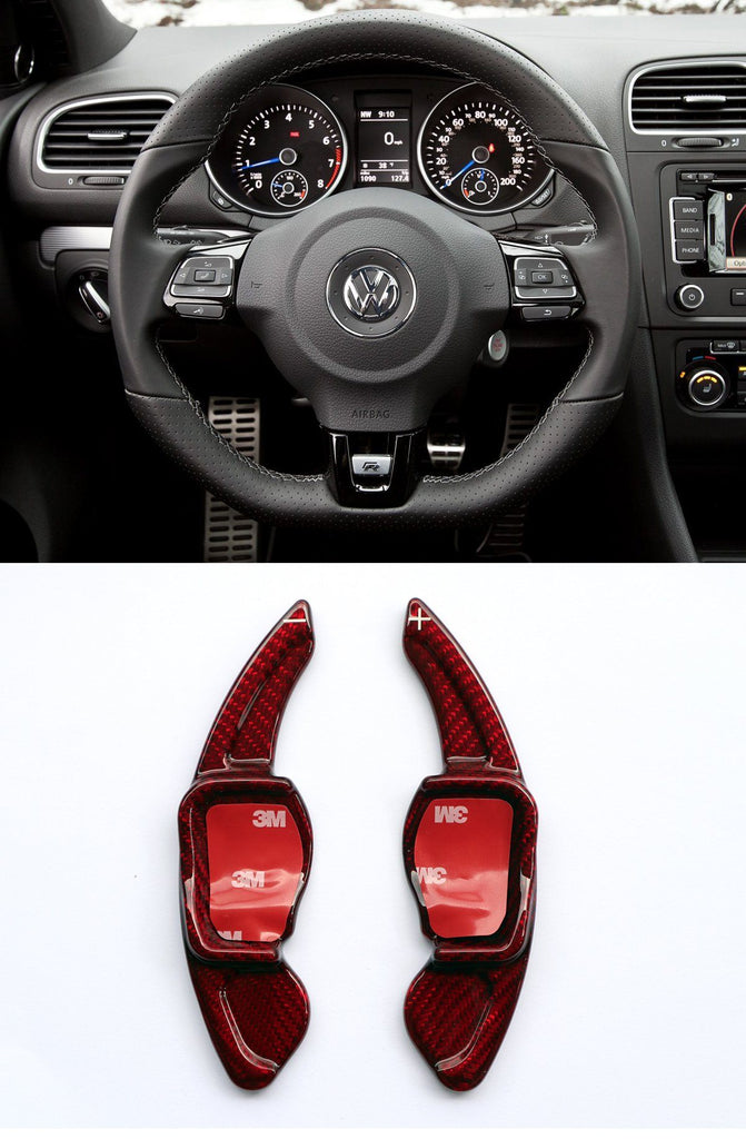 Pinalloy Real Carbon Fiber Red DSG Paddle Shifter Extension Steering Wheel for VW Golf Scirocco MK5 6 / SEAT Leon - Pinalloy