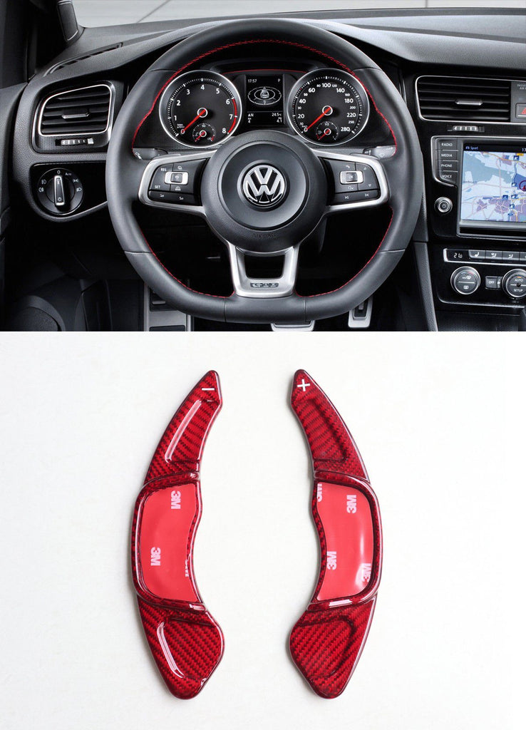 Pinalloy Real Red Carbon Fiber Steering Paddle Shifter Extension for VW Golf MK7 Scirocco GTi R - Pinalloy Online Auto Accessories Lightweight Car Kit