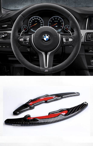 Pinalloy 100% Real Carbon Fiber Steering Wheel Paddle Shifter Extension For BMW M3 M4 M5 M6