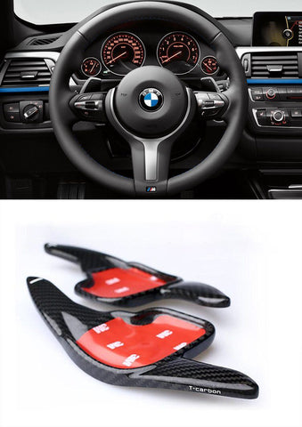 Pinalloy 100% Real Carbon Fiber Steering Wheel Paddle Shifter Extension for BMW 2 3 4 5 6 7 X1 X5 Z4 Series 2010-2016 - Pinalloy