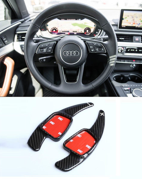 Pinalloy 100% Carbon Fiber Steering Paddle Shifter Extension for Audi A3 A4L A5 Q7 TT TTS S4 Q2 S3 SQ 2016-2017