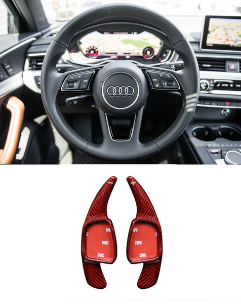 Pinalloy 100% Red Carbon Fiber Steering Paddle Shifter Extension for Audi A3 A4L A5 Q7 TT TTS S4 Q2 S3 SQ