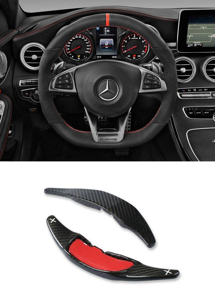 Pinalloy Real Carbon Fiber Steering Paddle Shifter Extension For Mercedes Benz AMG C63 S63 GLE63 (2015 - 2017) - Pinalloy Online Auto Accessories Lightweight Car Kit