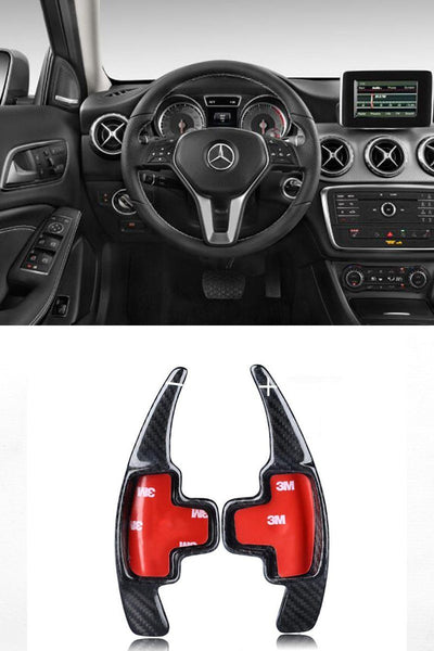 Pinalloy Real Carbon Fiber Paddle Shifter Extension For Mercedes Benz A/B/E Series 2013 - 2016 - Pinalloy Online Auto Accessories Lightweight Car Kit