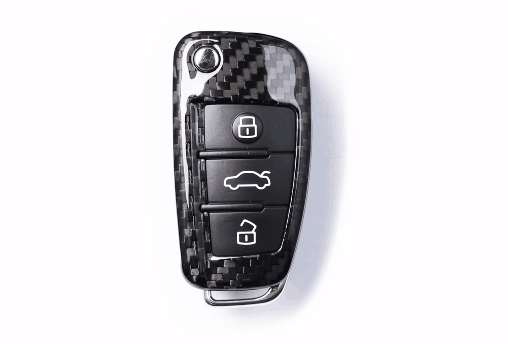 Deluxe Real Carbon Fiber Remote Flip Key Cover Case Skin Shell For Aud Pinalloy