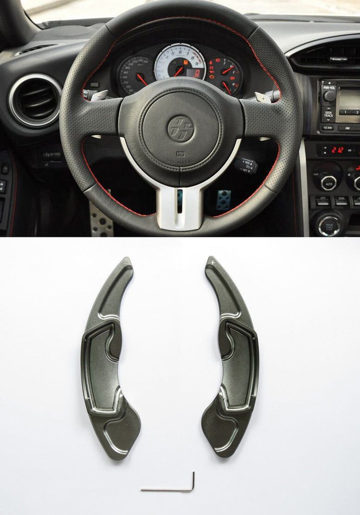 Pinalloy Grey Alloy Steering Wheel Paddle Shifter Extension for GT86 FRS BRZ - Pinalloy