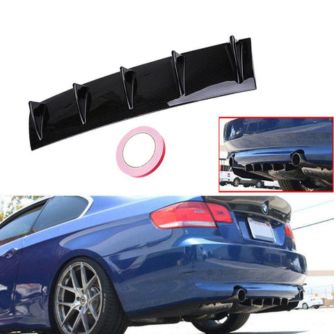 Pinalloy ABS Car Rear Bumper Lip Diffuser 5 Fin Shark Style Back Bumper Spoiler Lip Splitter - Pinalloy