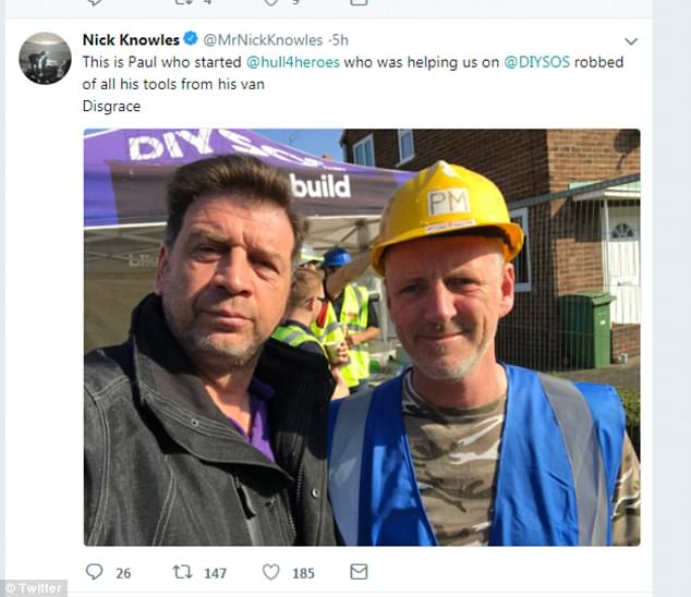 DIY SOS Nick Knowles (left) appeals for help on Twitter as the man he labelled the 'most amazing in Hull' is targeted by thieves. Paul Matson, 55, had all his tools stolen from his van_smart360