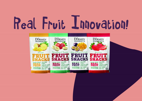 Real fruit innovation text written above the four flavours available in our healthy snack range.