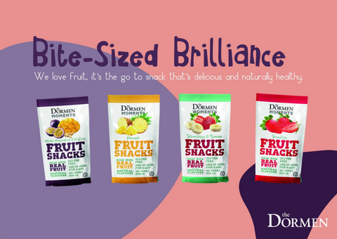 Bite Sized Brilliance, We love fruit. It is the go to snack that is delicious and naturally healthy. Text reads from a pink and purple backgroud which displays the four fruit snack flavours.
