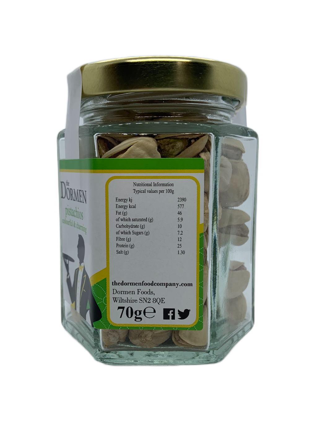 Salted Pistachios Hexagonal Jar (Trade) - The Dormen Food Company