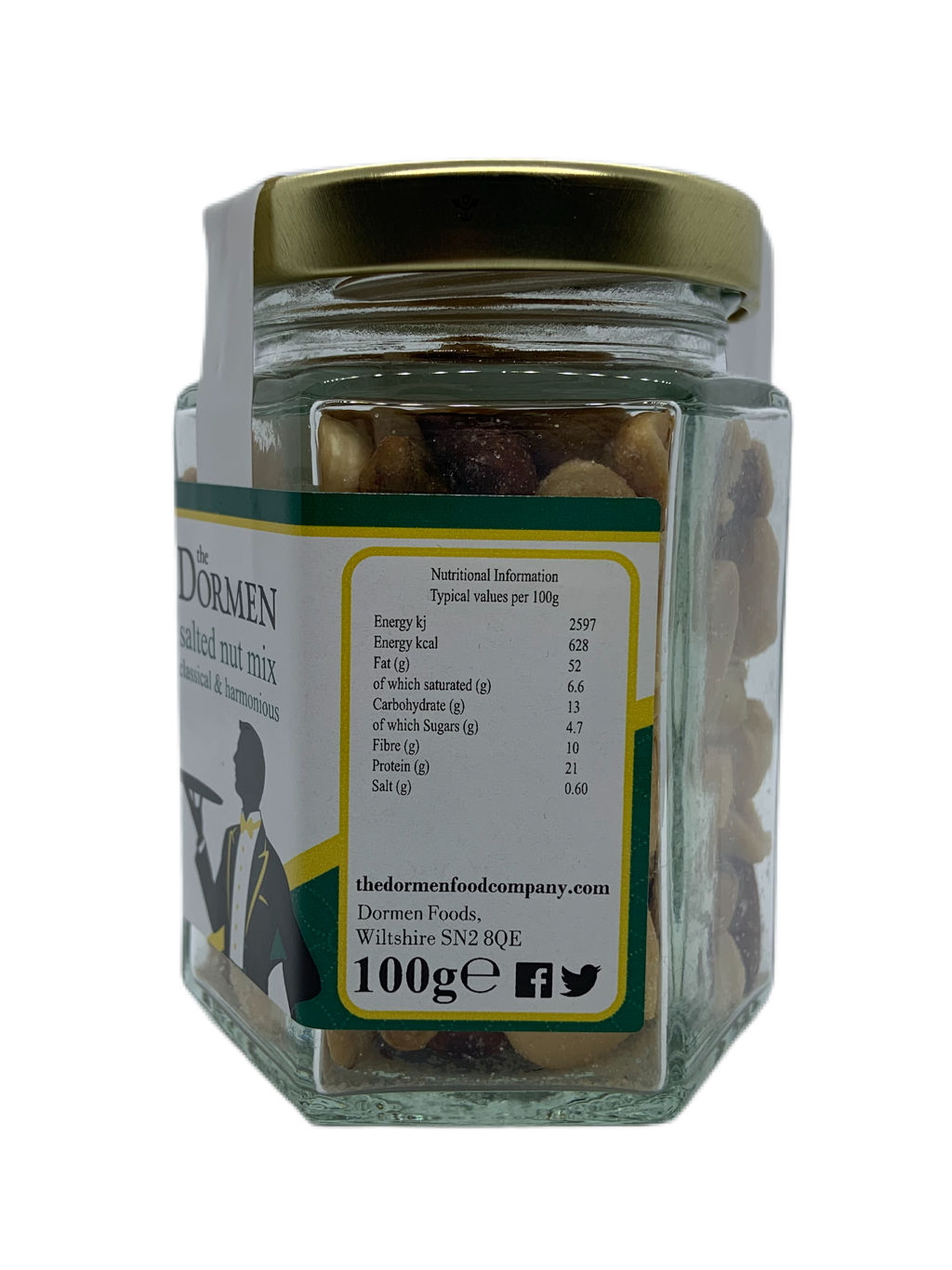 Salted Nut Mix Hexagonal Jar - The Dormen Food Company