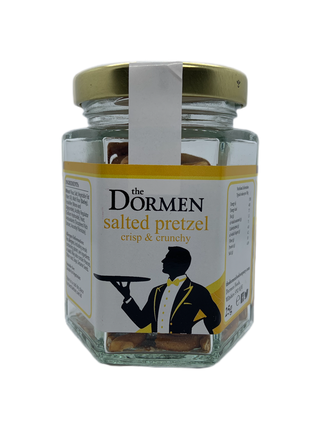 Salted Pretzel Twists Hexagonal Jar - The Dormen Food Company