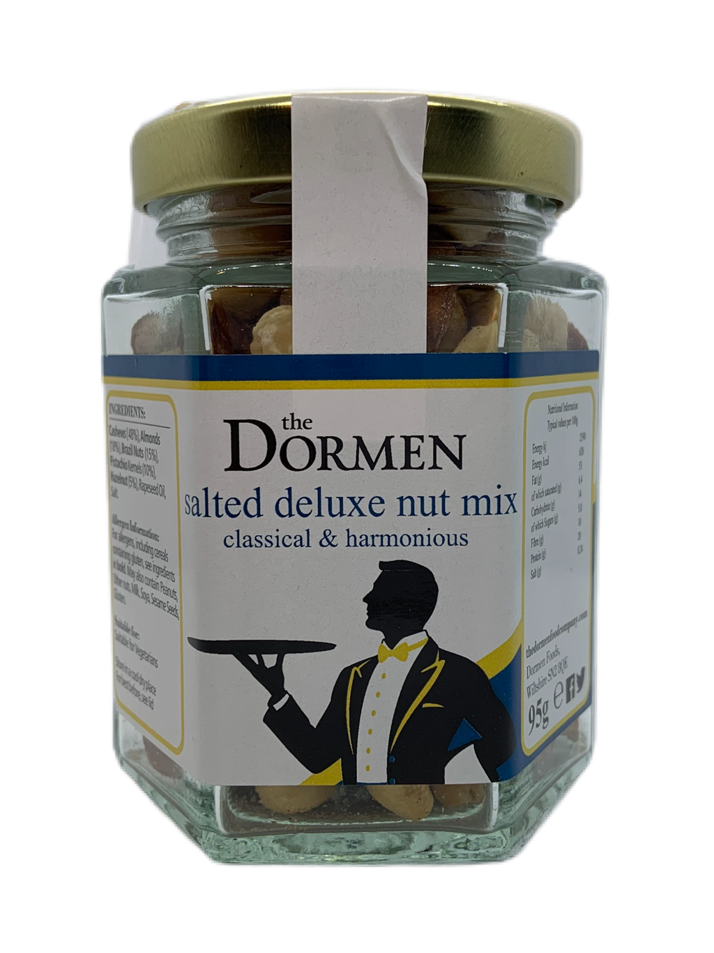 Salted Deluxe Nut Mix Hexagonal Jar (Trade) - The Dormen Food Company