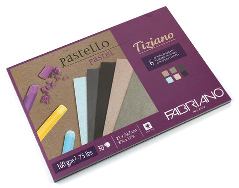 "Tiziano drawing paper ""brizzati color"" - 1 side glued BLOCKS"