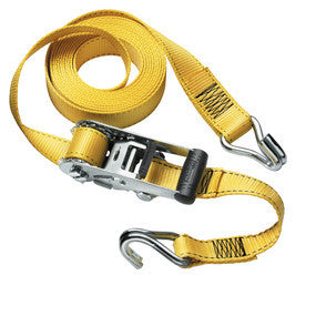 Ratchet tie down with J-hooks; Yellow 4,50m x 35mm