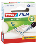 tesafilm invisible transparent tape with matte finish, 33m:19mm