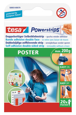 tesa Powerstrips POSTER, double-sided self-adhesive strips, removable
