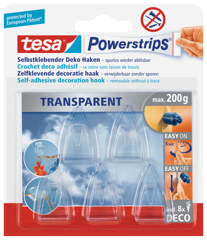 tesa Powerstrips DECO Hooks self-adhesive, removable, transparent