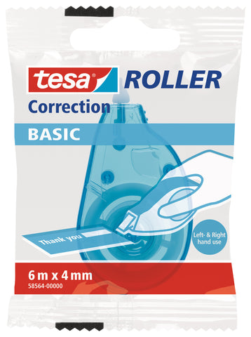 tesa BASIC Mini Correction Roller, correction tape, 6m:4mm
