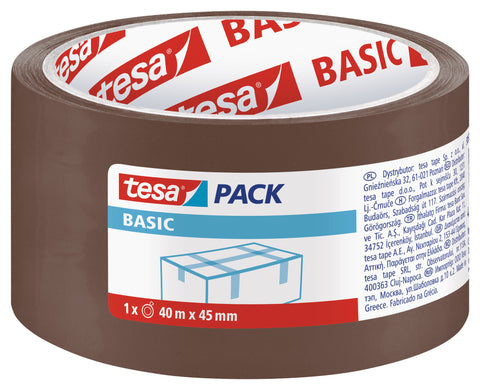 tesapack BASIC Packaging tape, 40m:45mm, brown