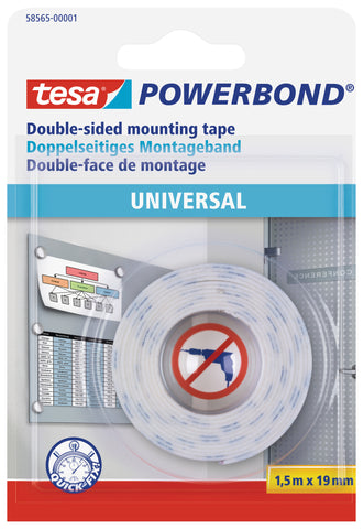tesa Powerbond General double-sided self-adhesive mounting tape, 1.5m:19mm
