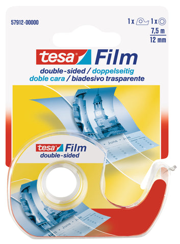 tesafilm double-sided tape, 7.5m:12mm, transparent  + dispenser