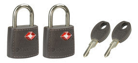 Covered solid body tsa-accepted luggage padlock; 2-pack - 23mm wide