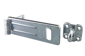 Long Zinc Plated Hard Wrought Steel Hasp with Hardened Steel Locking Eye - 150 mm