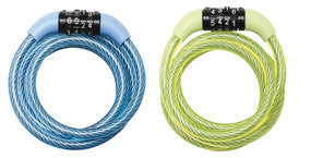Fixed Combination Cable Lock; Assorted Colours, 1,2m Long x 8mm Diameter