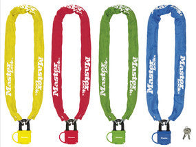 Hardened Steel Chain with 40mm laminated Steel Padlock; Assorted Colours 90cm Long x 6mm