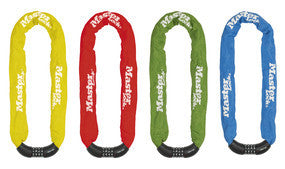 Hardened Steel Chain with Integrated Set-Your-Own Combination Lock; Assorted Colours 90cm Long x 8mm