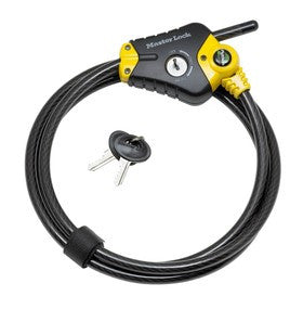 Python™ Adjustable Locking Cable; Black and Yellow 1,8m Long x 10mm Diameter