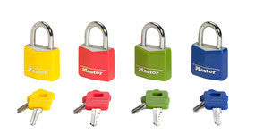 Covered solid aluminum body padlock; assorted colours - 30mm wide