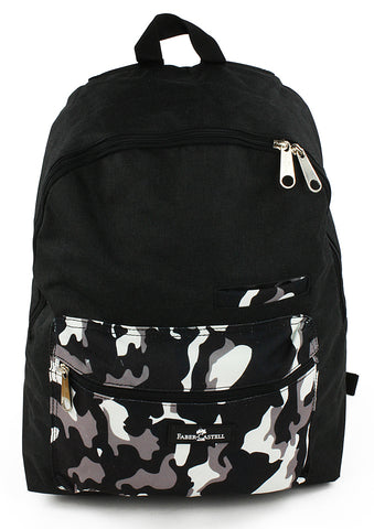 Faber-Castell School Backpack - Black & Grey Camouflage