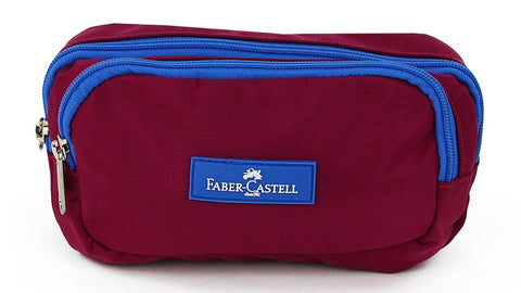 Faber-Castell Pencil case - Burgundy / Blue