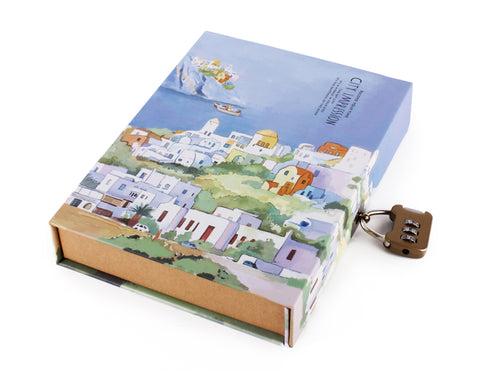 Hardcover notebook with lock 12.8 x 18.6 cm
