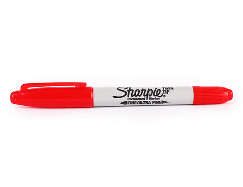 Sharpie Twin Tip Fine/Ultra Fine Permanent Marker - Red - 0.5/0.9 mm - Bullet tip