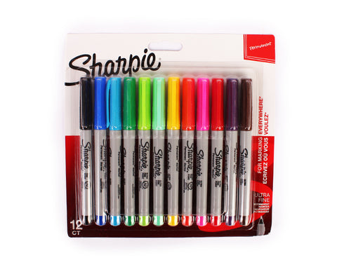 Sharpie 12 permanent markers set-ULTRA-FINE 0.5 mm
