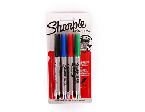 Sharpie 4 permanent markers set-ULTRA-FINE 0.5 mm