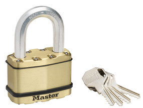 Excell® laminated steel padlock with 38mm long shackle; brass finish - 64mm wide