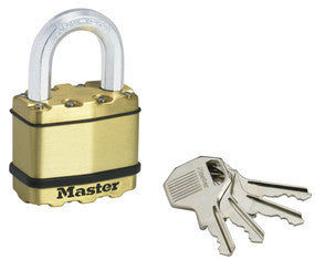 Excell® Laminated Steel Padlock; Brass Finish - 52 mm wide